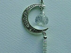 CELESTIAL CRECENT MOON SUN CRYSTAL REAR VIEW MIRROR CAR CHARM MOBILES ORNAMENT
