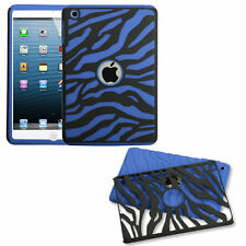 For Apple iPad Mini - HARD & SOFT RUBBER HYBRID DUAL LAYER CASE BLUE BLACK ZEBRA