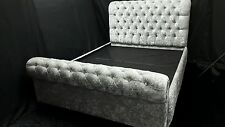4ft6 Double Crushed Velvet Chesterfield Sleigh Bed Silver Minx Black save £500