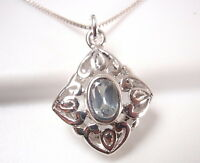 Faceted Blue Topaz Filigree 925 Sterling Silver Pendant Corona Sun Jewelry