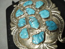 MAGNIFICENT VINTAGE ZUNI SLEEPING BEAUTY TURQUOISE STERLING SILVER BOWGUARD