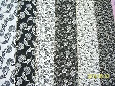 "60 New Black and white 4""x 4"" Quilt Quilting Squares Fabric cotton kit charms"