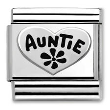 Genuine Nomination Classic Silver Auntie Heart Charm 330101/17 RRP £20.00