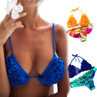 femmes Bandage le haut de maillot de bain licou Micro Print maillots Bikini WAZ