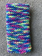 Hand knitted Mobile phone sock/cover/case Multi Bright