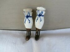 "Pr. NICE Antique CHINA Doll Legs 2 3/4"" - Brown painted shoes, Blue Bow"