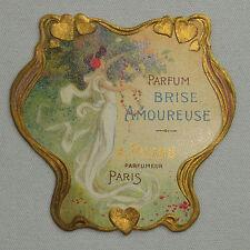 ETIQUETTE DE PARFUM BRISE AMOUREUSE GAUFREE DOREE A PICARD PARIS OLD LABEL
