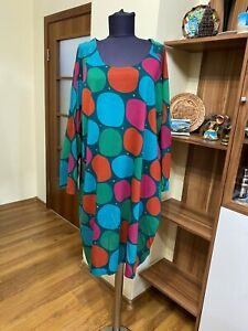 GUDRUN SJODEN LYOCELL/COTTON MULTICOLORED STRETCH JERSEY POLKA DOT RELAXED DRESS