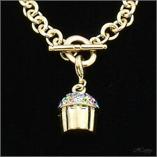 "Cupcake Mini Baker Charm Cake Bracelet Crystal Multicolor 3D 8"" Fashion Jewelry"