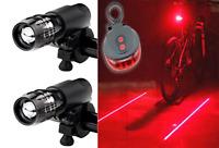 Zwei Vorne Zoombare Scheinwerfer + Hinten Laser 5 Led - Fahrradlicht Set -