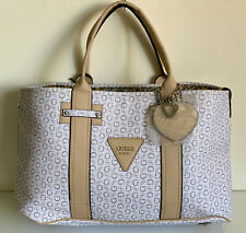 NEW! GUESS MARCIANO BRIGHT CANDY WHITE SHOPPER SATCHEL TOTE BAG PURSE SALE