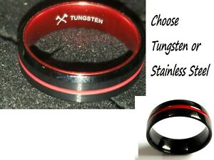 Fireman Thin Red Line Wedding Band Ring Choose Tungsten Carbide Stainless Steel