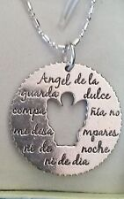 Sterling silver necklace large guardian angel charm Spanish prayer gift box
