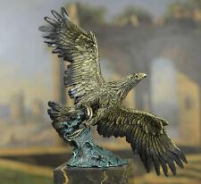 Signed: Milo. Flying Eagle Hawk Bird Eagle Spread wing Fighting Bronze Sculpture