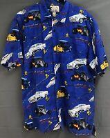 BLUEWATER WEAR Mens Hawaiian Shirt-Hot Rods USA Large