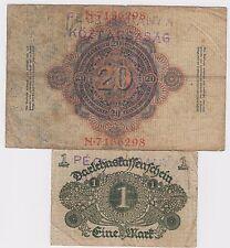 20 Mark 1914 +1 Mark 1920 banknote Baranya bajai Szerb Magyar Köztársaság STAMP