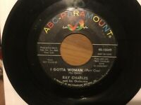 """Ray Charles """"I Gotta Woman"""" 45 on ABC PARAMOUNT Label...60's R&B in VG"""