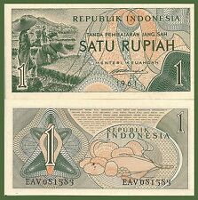 Indonesia P78, 1 Rupiah, rice workers / Farm produce 1961 UNC