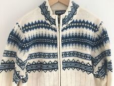 43ccb483239 Lands End Women s Fair Isle Nordic Wool Cardigan Zip Up Sweater Size L