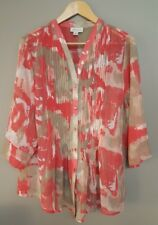 AUTOGRAPH Women's Plus Gorgeous Sheer Patterned Top With Taupe Camisole, Size 16