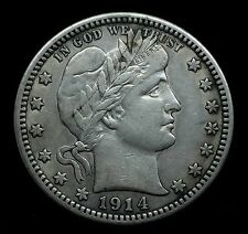 1914 Barber quarter SILVER TYPE COIN T2