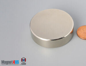 "44mm x 13mm  1 3/4"" x 1/2""  N45 Strong  Rare Earth Neodymium Disc Magnets"