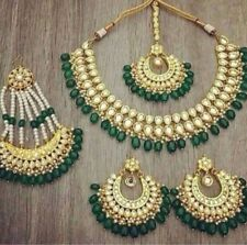 Indian Pakistan Kundan Emerald Pearl  Choker Necklace Earring Jhumar Tikka Set