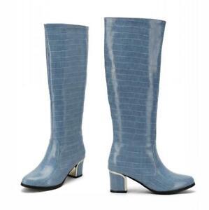 Women Cowboy Round Toe Block 6cm  Heel Mid Calf Knight Boots Outdoor 41 42 43 D