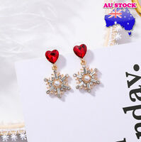 Wholesale 18K Gold Plated Love Heart CZ Snowflake Christmas Pin Stud Earrings