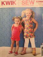 Kwik Sew Pattern K3984 Girls Tops Shorts Pants Childs Sz XXS, XS, S, M, L Uncut