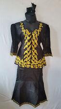 Women Clothing African Dashiki Skirt Suit Attire Black Free Size Print #9319