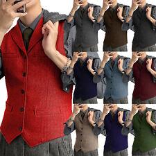 Casual Mens Herringbone Vest Tweed Waistcoat Vintage Herringbone Wool Groom Slim