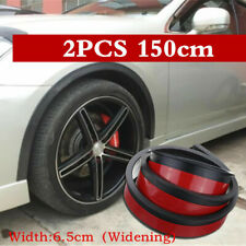2x Black Car Fender Flare Extension Wheel Eyebrow Moulding Trim Arch Strip 150cm