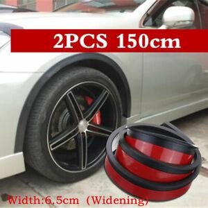 2x Black Car Fender Flare Extension Wheel Eyebrow Moulding Trim Arch Strip 150cm