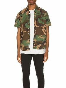 RALPH LAUREN Mens Green Camouflage Short Sleeve Collared Classic Fit Button