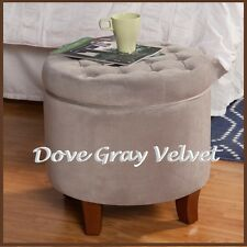 Ottoman Round Storage Tufted Large Button Dove Gray Velvet Foot Stool Furniture