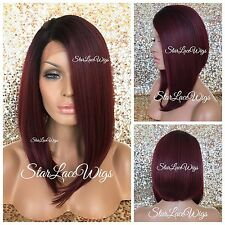 Lace Front Wig Straight Angled Bob Burgundy Red Side Part Layers Heat Safe Ok