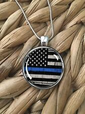 Thin Blue Line Flag American Police Support Pendant Silver Chain Necklace NEW