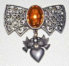 VINTAGE VICTORIAN ANTIQUE ST AMBER COLOR CABOCHON W/DANGLE DOVE HEART PIN BROOCH