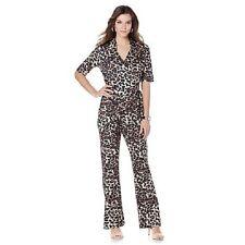 Wendy Williams Wrap Jumpsuit Tan Leopard Size Medium Retail $80.