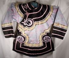 Vintage Chinese Embroidered Silk Robe Pink, Black & Yellow