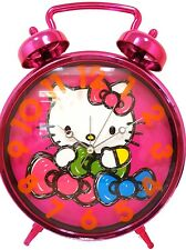 """Hello Kitty Jumbo Twin Bell Clock 12"""" : Pink with colorful bows"""