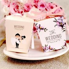 Bride and Groom Printed Wedding Decoration Candy Box With Pink Color Ribbon Gift