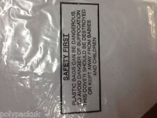 """10 Large Clear Polythene Plastic Bags 36"""" x 36"""" 120g Printed Warning Note"""