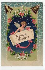 """A HAPPY NEW YEAR""; Embossed greetings postcard (C14088)"