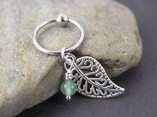 "Filigree Leaf Jade Cartilage Piercing Captive Ring 18G 3/8"" 10mm Helix Earring"