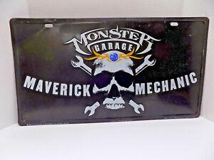 "MONSTER GARAGE METAL SIGN 12x22 ""MAVERICK MECHANIC"" SKULL MAN CAVE USA"