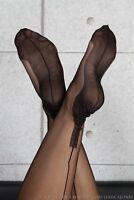NEW GIO Fully Fashioned Cuban Heel Seamed Stockings Black Size 10 Medium Large