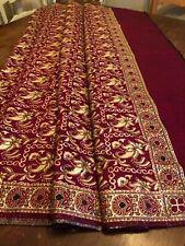 Vintage Kashmiri Pashmina Shawl Tablecloth Blanket Maroon Red Silver Flowers