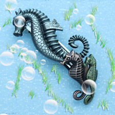 Metal Sea Horses Ocean French Updo Hair Head Clip Dress Snap Barrette Pin Gift
